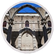 Ruins Of Carmo Convent In Lisbon Round Beach Towel