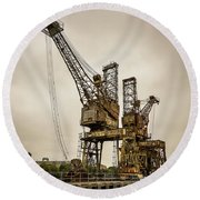 Rusty Cranes At Battersea Power Station Round Beach Towel