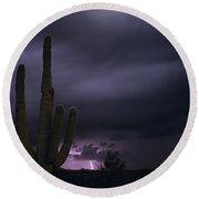 Saguaro Cactus Sunset At Dusk With Lightning Arizona State Usa Round Beach Towel