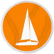 Sailboat In Orange And White Round Beach Towel