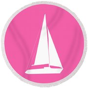 Sailboat In Pink And White Round Beach Towel