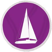 Sailboat In Purple And White Round Beach Towel