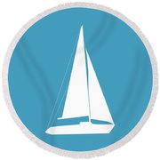 Sailboat In White And Turquoise Round Beach Towel