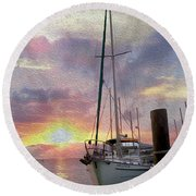 Sailboat Round Beach Towel by Jon Neidert