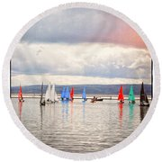 Sailing On Marine Lake A Reflection Round Beach Towel