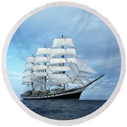 Sailing Ship Round Beach Towel by Anonymous