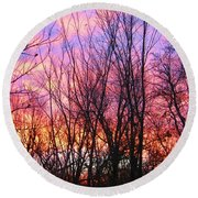 Red Sky In Morning Round Beach Towel