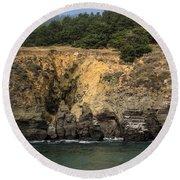 Salt Point Cliffs Round Beach Towel