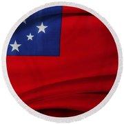 Samoan Flag Round Beach Towel