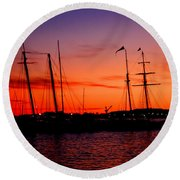 San Diego Harbor Sunset Round Beach Towel