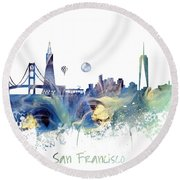 San Francisco City Skyline Round Beach Towel