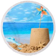 Sandcastle On Beach Round Beach Towel