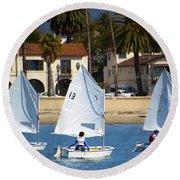 Santa Barbara Harbor Yacht Race Round Beach Towel