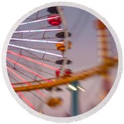 Santa Monica Pier Ferris Wheel And Roller Coaster At Dusk Round Beach Towel