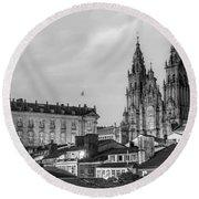 Santiago De Compostela Cathedral Galicia Spain Round Beach Towel