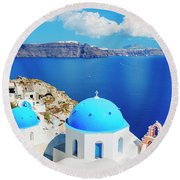 Santorini Island, Greece, Beautiful Round Beach Towel