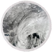 Satellite View Of A Large Noreaster Round Beach Towel