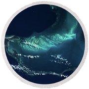 Satellite View Of Turks And Caicos Round Beach Towel