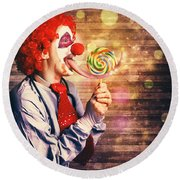 Scary Circus Clown At Horror Birthday Party Round Beach Towel