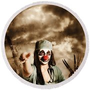 Scary Clown Doctor Throwing Knives Outdoors Round Beach Towel