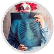 Scary Clown Peeking Behind X-ray. Funny Bones Round Beach Towel