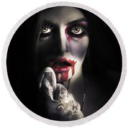 Scary Vampire Woman. Bloody Halloween Horror Round Beach Towel