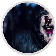 Scary Zombie Looking Gravely Ill. Monster Disease Round Beach Towel