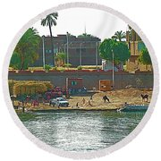 Scene Along Nile River Between Luxor And Qena-egypt  Round Beach Towel