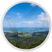 Scenic Coromandel Peninsula Nz Coastline Seascape Round Beach Towel