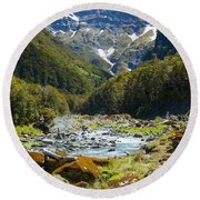 Scenic Valley In New Zealand Round Beach Towel