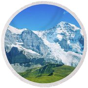 Scenic View Of Eiger And Monch Mountain Round Beach Towel