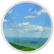 Scenic View Of Mountain Range, Blue Round Beach Towel