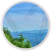 Scenic View Of Mountain Range Round Beach Towel