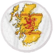 Scotland Painted Flag Map Round Beach Towel
