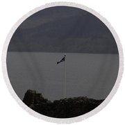 Scottish Flag Flying High Over The Remains Of Urquhart Castle Round Beach Towel