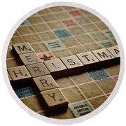 Scrabble Merry Christmas Round Beach Towel