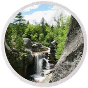 Screw Auger Falls At Grafton Notch State Park  Round Beach Towel