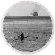 Sculling On The Bay Round Beach Towel