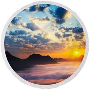 Sea Of Clouds On Sunrise With Ray Lighting Round Beach Towel