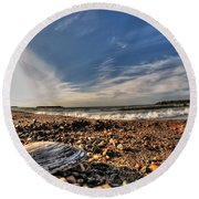 Sea Shell Sea Shell By The Sea Shore At Presque Isle State Park Series Round Beach Towel