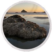 Sea Stacks At Sunset Round Beach Towel