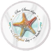 Sea Stars Align For A Perfect Day At The Beach Round Beach Towel
