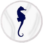 Seahorse In Navy And White Round Beach Towel