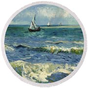 Seascape Near Les Saintes-maries-de-la-mer Round Beach Towel