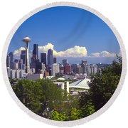 Seattle City View Round Beach Towel