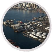 Seattle Skyline And South Industrial Area Round Beach Towel