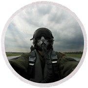 Self-portrait Of An Aerial Combat Round Beach Towel