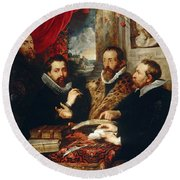 Selfportrait With Brother Philipp Justus Lipsius And Another Scholar Round Beach Towel