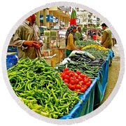 Selling Fresh Vegetables In Antalya Market-turkey Round Beach Towel