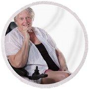 Senior Woman In Wheel Chair Round Beach Towel